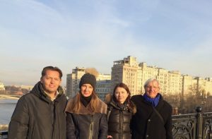 Moscow River bridge, 23/11. Mark T. (left), Natasja K., Galina F. and Paul M..
