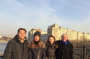 Moscow River bridge, 23/11. Mark T. (left), Natasja K., Galina F. and Paul M..