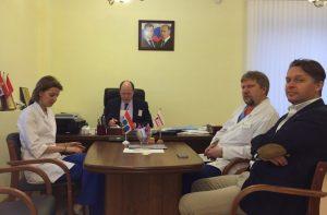 Hospital meeting 24/11 between DEMMA and DEMMA-M representatives. Natasja K. (left), Valery Y., Konstantin Veresov (Dwoyka 2010), Mark T..