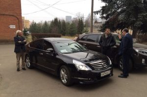 Departure from the hospital 24/11: driver and car about to leave for the embassy visit.